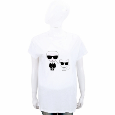 [老佛爺單品降48折]KARL LAGERFELD 卡爾貓咪白色短袖T恤