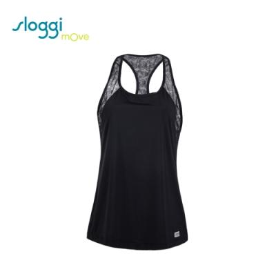 sloggi mOve FLEX 時尚蕾絲款外罩式運動背心 酷勁黑