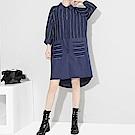細條紋拼接弧擺寬衫連身裙-(共二色)Andstyle