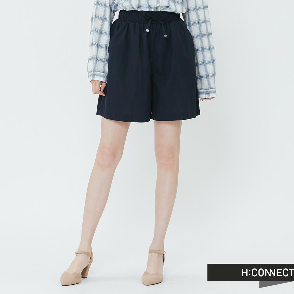 H:CONNECT 韓國品牌 女裝-棉麻鬆緊休閒短褲-藍