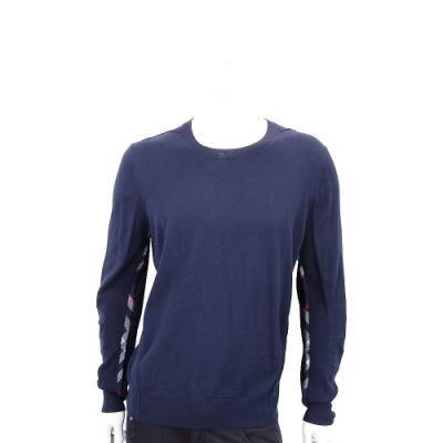 BURBERRY 格紋細節設計美麗諾套頭羊毛衫(男款/海軍藍)