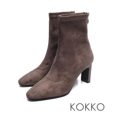 KOKKO - 完美顯瘦方頭扁跟襪靴 -灰色