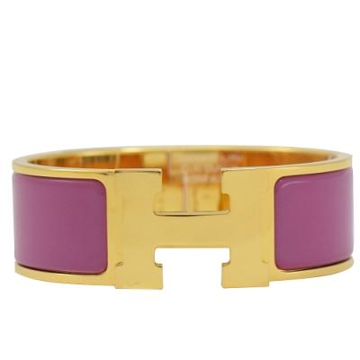 HERMES CLIC H LOGO琺瑯扣式寬版手環(玫瑰金/杜鵑紫)