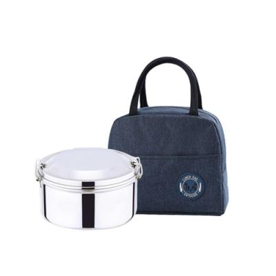 鵝頭牌不銹鋼316圓型便當盒+熊貓防水保溫保冷便當袋