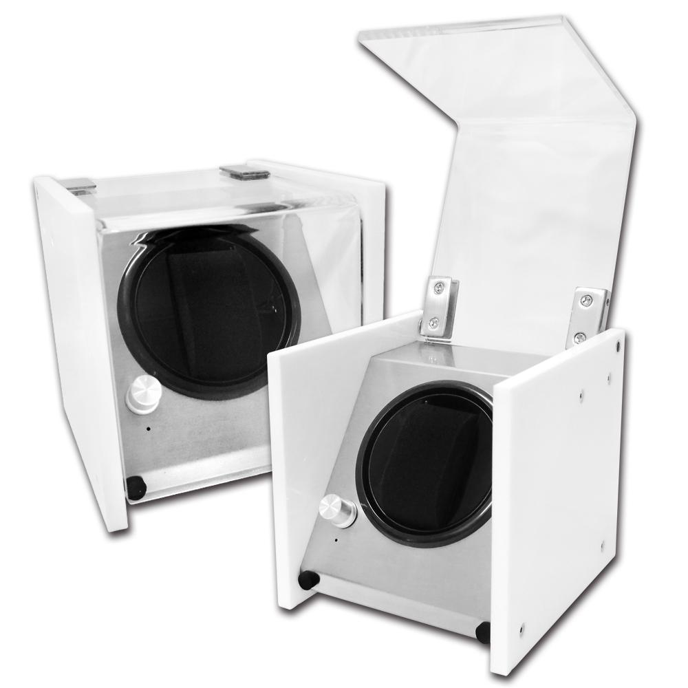 機械錶自動上鍊收藏盒 1旋1入錶座轉動 壓克力 - 白色