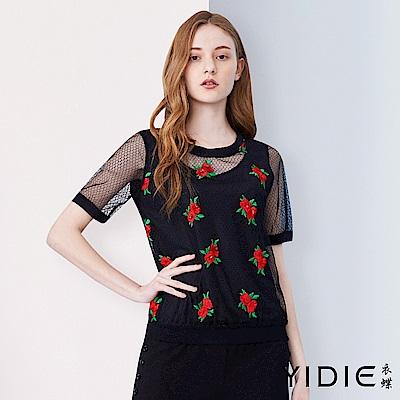 【YIDIE衣蝶】玫瑰刺繡網紗上衣