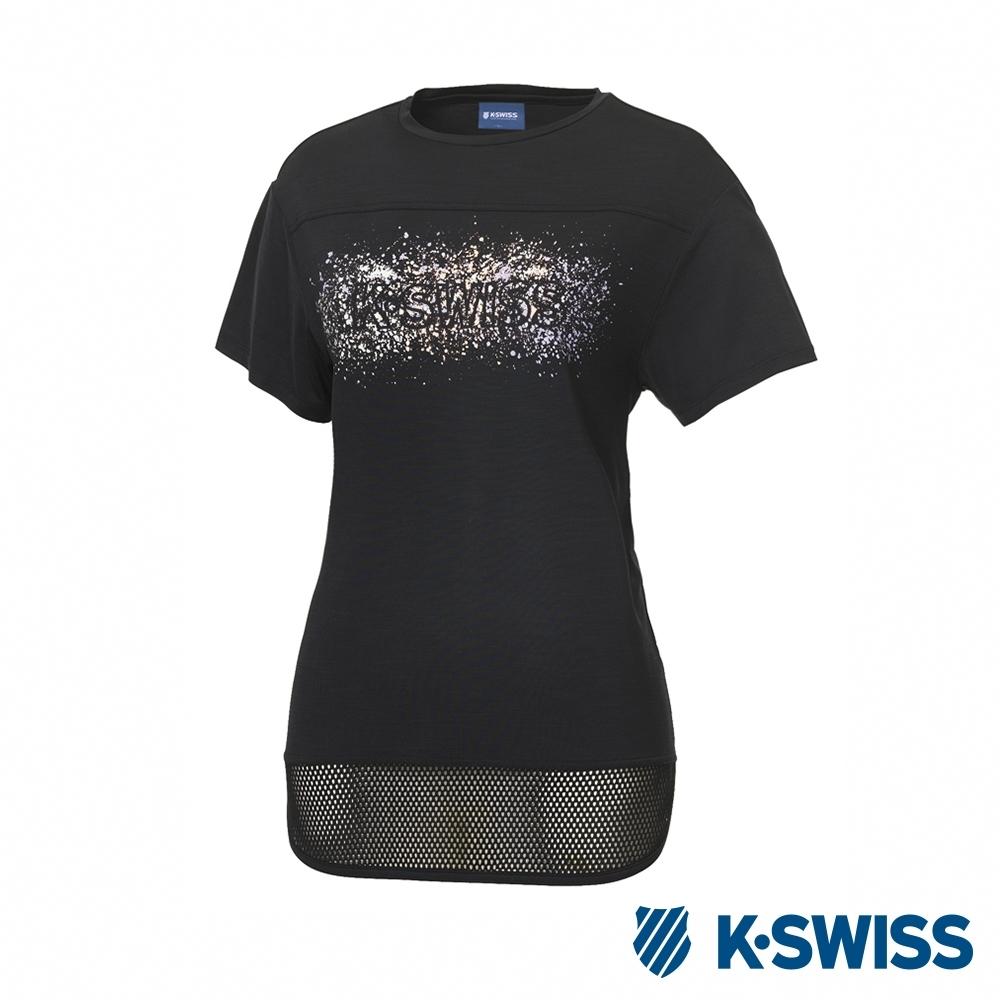 K-SWISS T-Shirt 韓版短袖T恤-女-黑