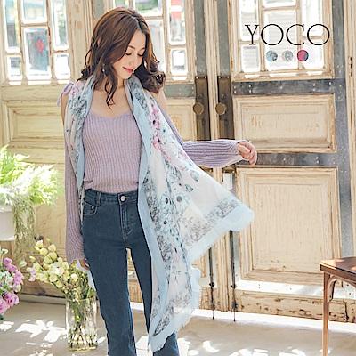 東京著衣-yoco 經典暈染古典花紋柔軟絲巾披肩(共三色)