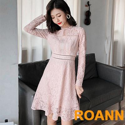 小清新圓領縷空蕾絲鈎花洋裝 (粉色)-ROANN