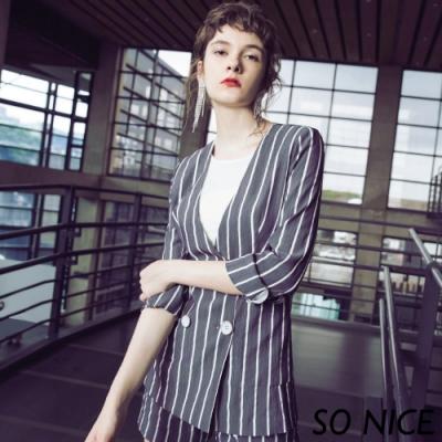 SO NICE時尚雙排釦條紋西裝外套