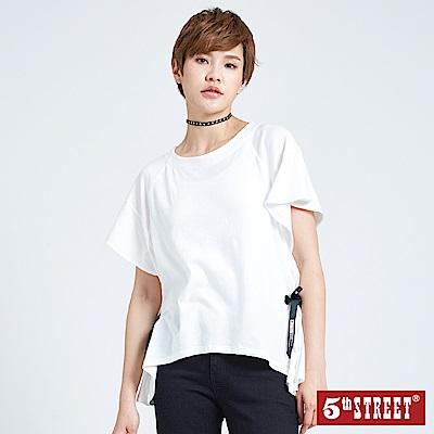 5th STREET 綁帶造型短袖T恤-女-米白色