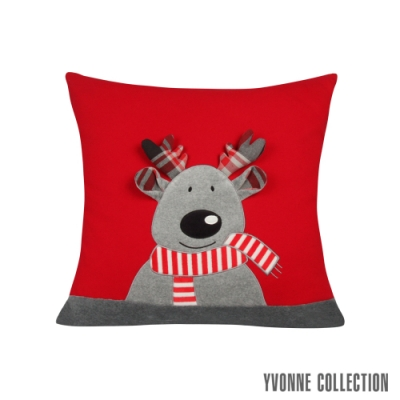 Yvonne Collection 馴鹿造型立體抱枕(60x60cm)-紅