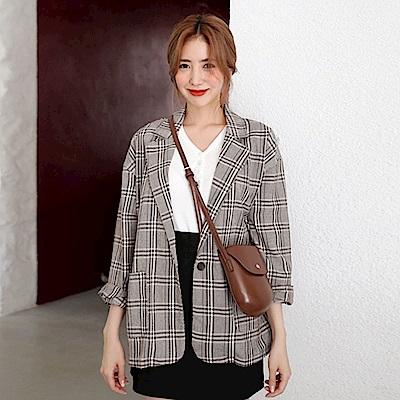 La Belleza復古格紋翻領單釦格子雙口袋西裝外套