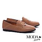 平底鞋 MODA Luxury 獨特中性圓釦裝飾樂福平底鞋-棕
