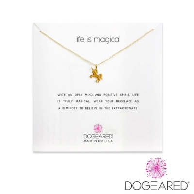 美國DOGEARED 奇蹟獨角獸鍍金祈願項鍊 Life Is Magical Unicorn Necklace