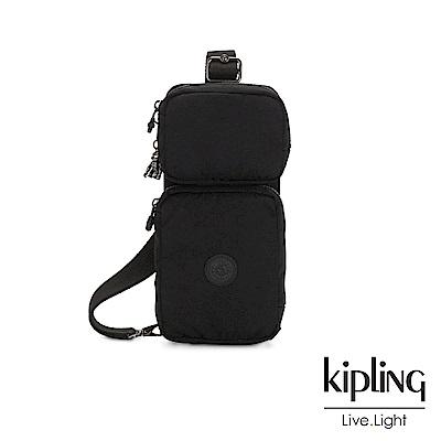 Kipling 極致低調黑兩用腰間側背包-OVANDO