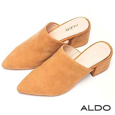 ALDO 原色真皮尖頭復古方形粗跟懶人穆勒鞋~都會淺棕
