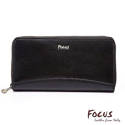FOCUS原皮時尚黑造型拉鍊長夾(FGC3673)