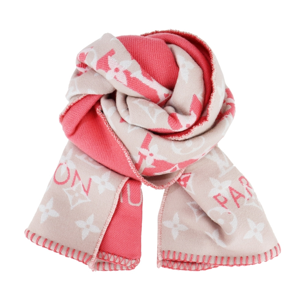 Louis Vuitton All You Need 柔軟羊毛混紡圍巾(紅玫米黃)