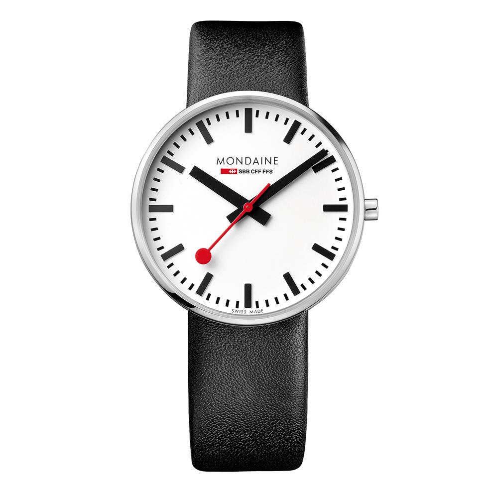 MONDAINE 瑞士國鐵 Giant BackLight巨人夜光腕錶-白x黑錶帶42mm