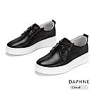 達芙妮DAPHNE 休閒鞋-真皮綁帶拚接厚底休閒鞋-黑色