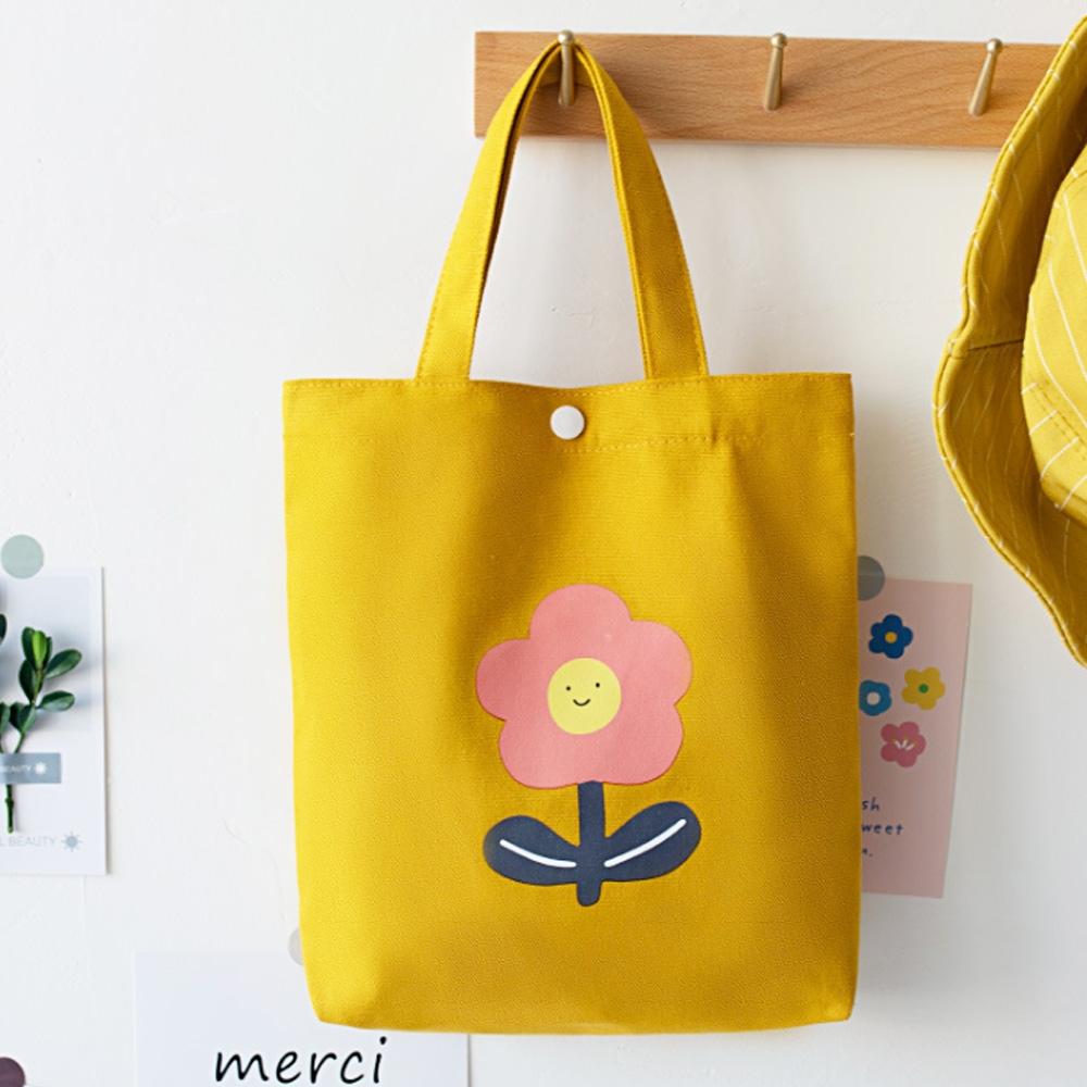 【素包包】可愛日系花朵圖案便當小物手提袋(4色任選) product image 1