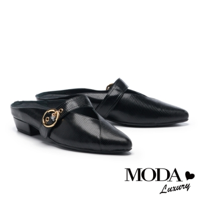 拖鞋 MODA Luxury 時尚復古金屬圓釦尖頭穆勒低跟拖鞋-黑