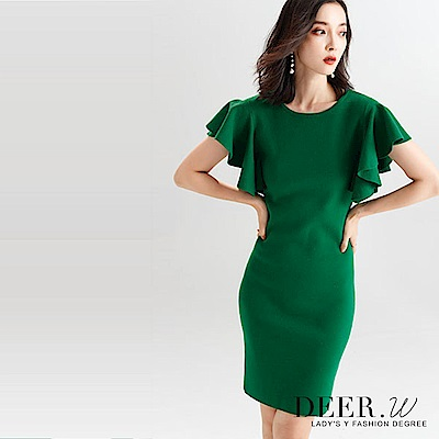 DEER.W 立體荷葉袖修身針織洋裝(綠色)
