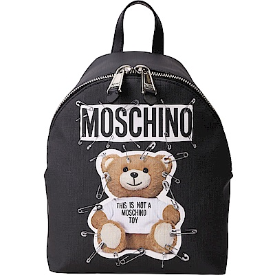 MOSCHINO 中型 別針泰迪熊印花後背包(黑色)