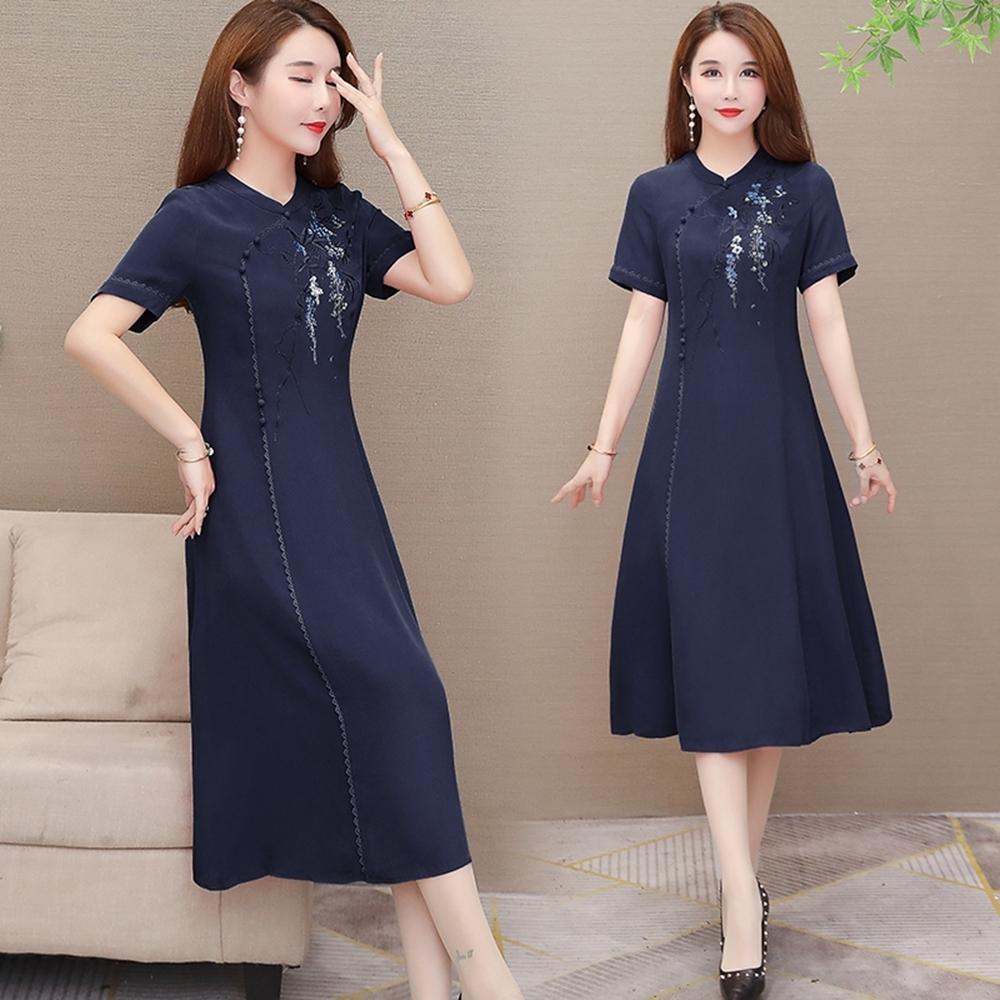 典雅氣質立領刺繡收腰改良旗袍洋裝M-3XL(共二色)-REKO product image 1