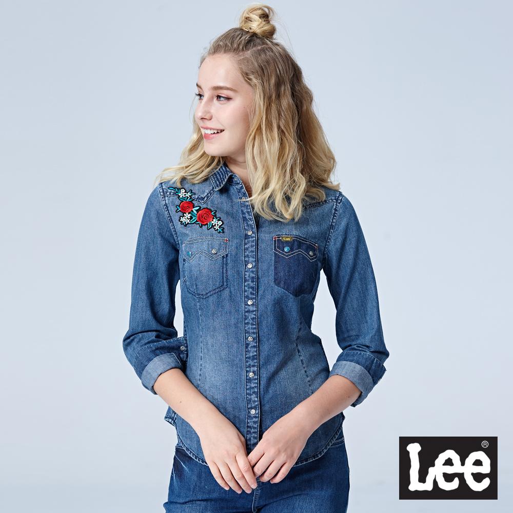 Lee 牛仔長袖襯衫/101+水洗藍