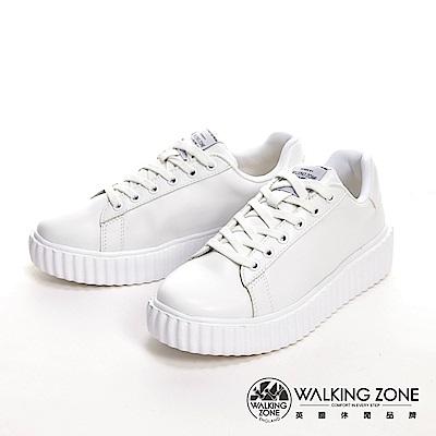 WALKING ZONE 蛋糕系列 綁帶柔軟增高休閒 女鞋-奶油白