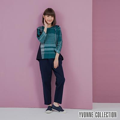 YVONNE皺皺格紋拼接下擺七分袖上衣- 藍