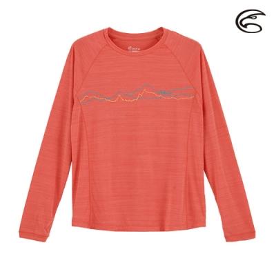ADISI 女輕薄棉感圖騰圓領長袖排汗衣AL2011110 (S-2XL) 輕珊瑚