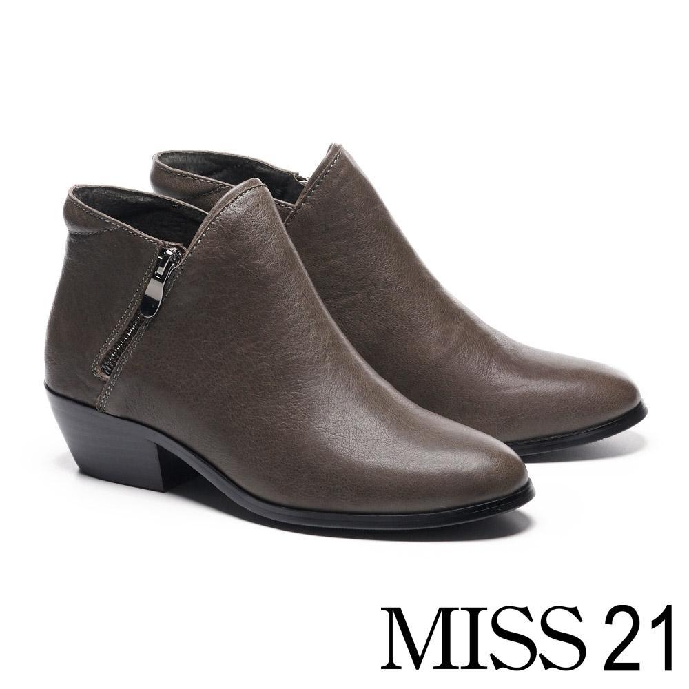 短靴 MISS 21 簡約率性槍色拉鍊牛皮粗高跟短靴-灰
