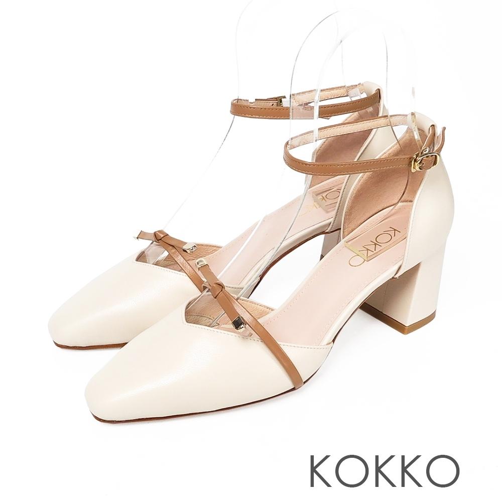 KOKKO 韓系女神方頭羊皮繫帶粗跟鞋裸奶茶