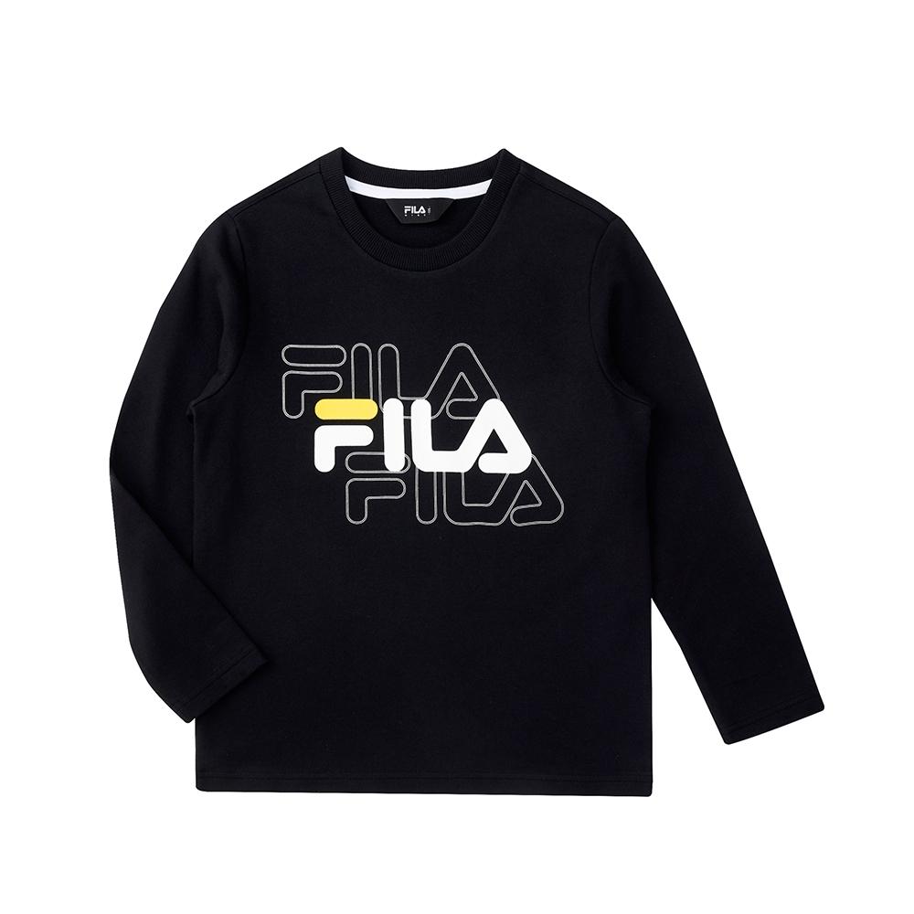 FILA KIDS 長袖圓領上衣-黑色 1TEU-8902-BK