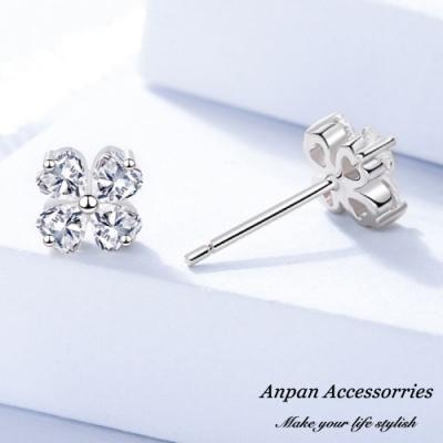 【ANPAN愛扮】S925純銀飾 幸運四葉草白金鑽石耳釘式耳環