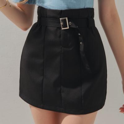 AIR SPACE 高腰裁線褲裙(附腰帶)(黑)