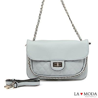 La Moda 氣質滿點小香風菱格紋鍊條綴飾宴會約會鏈帶包(藍)
