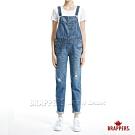 BRAPPERS 女款 Boy Friend系列-藍牛角刺繡吊帶長褲-淺中藍