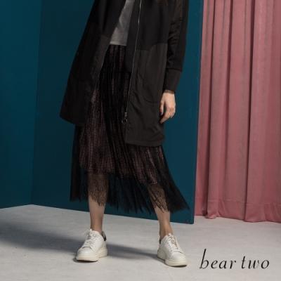 beartwo - 浪漫風格紋內襯網紗長裙 - 紅