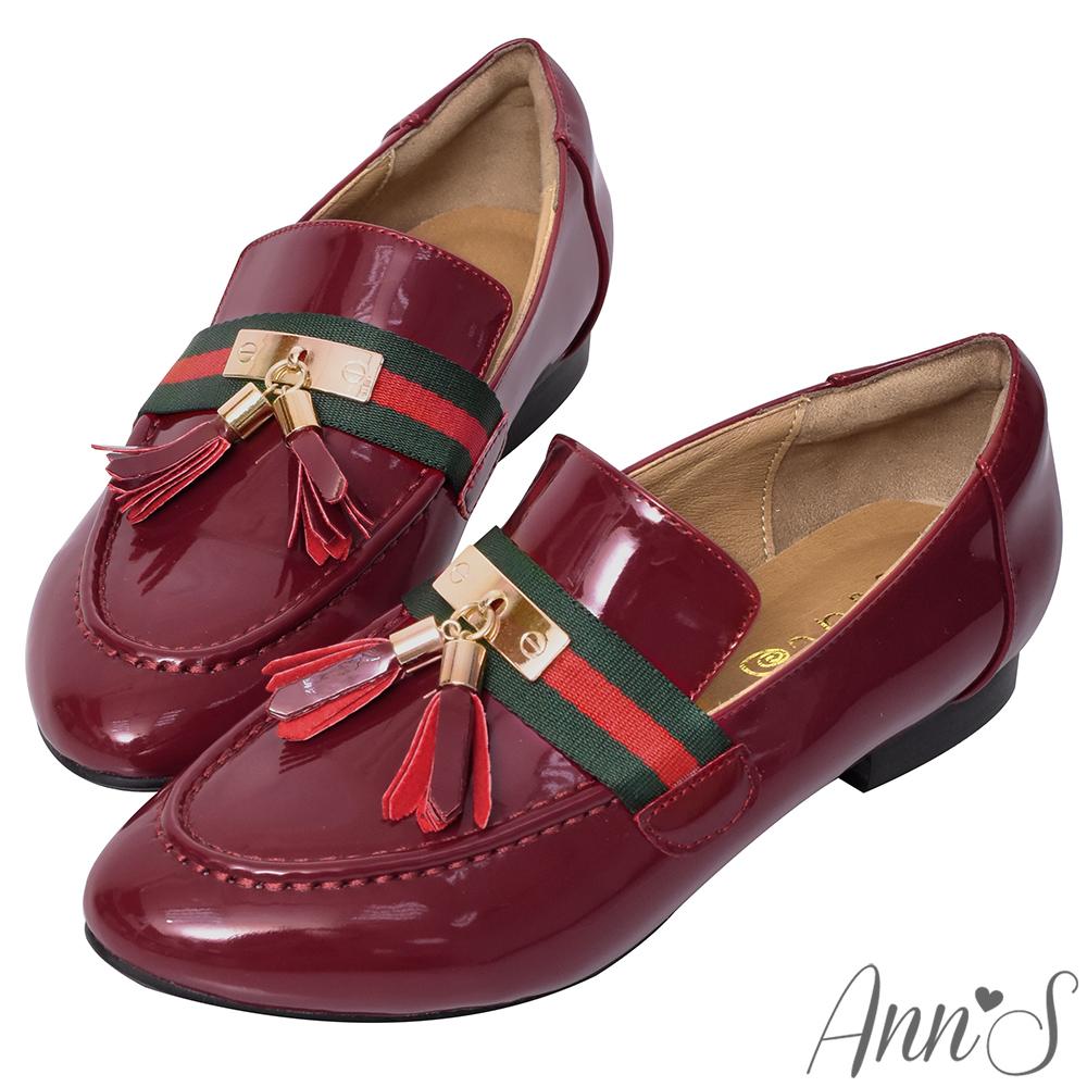 Ann'S雙色織帶流蘇墜紳士鞋-酒紅(版型偏小)
