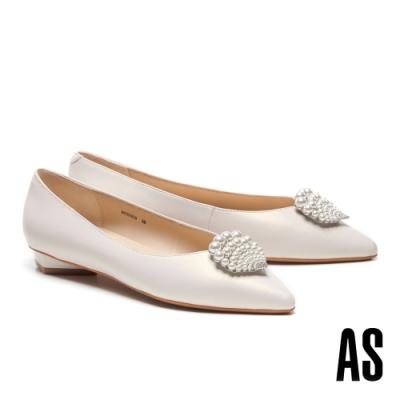 低跟鞋 AS 深海精靈珍珠貝殼鑽飾全羊皮尖頭低跟鞋-米