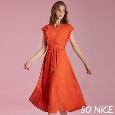 SO NICE亮麗簡約寬腰帶長洋裝