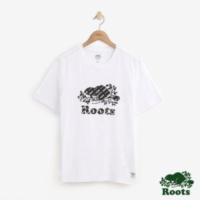 男裝Roots-滿版印花庫柏海狸短袖T恤-白