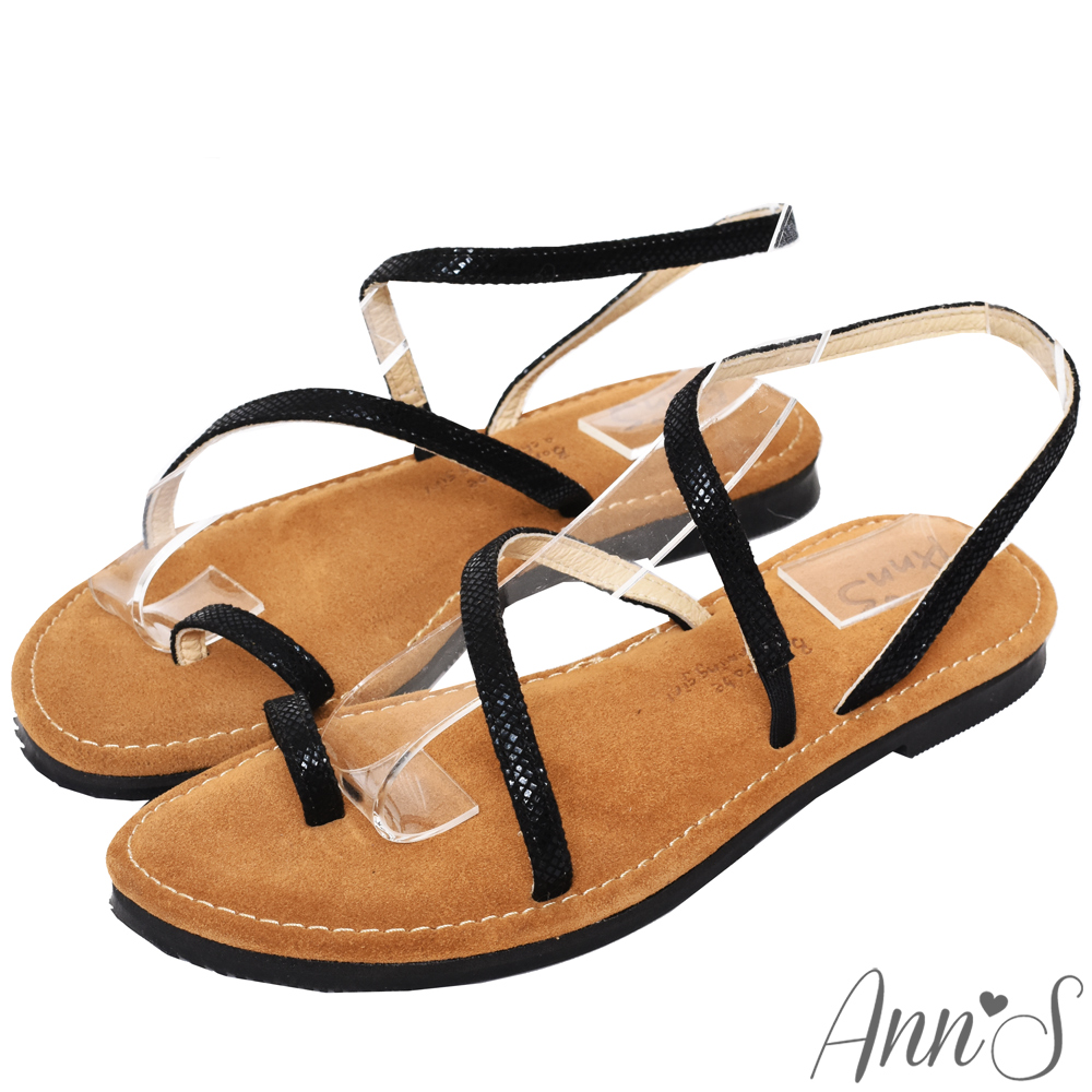 Ann'S水洗牛皮-時髦蛇紋顯瘦曲線寬版平底涼鞋-黑
