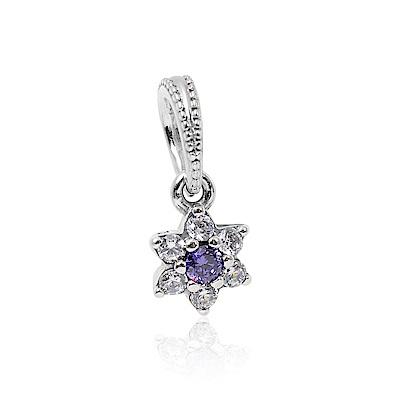 Pandora 潘朵拉 紫色勿忘我小花鑲鋯  垂墜純銀墜飾 串珠