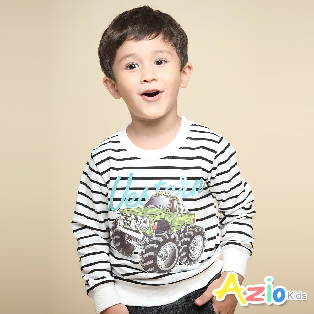 Azio Kids 男童 上衣 吉普車英文字母印花長袖條紋T恤(白)