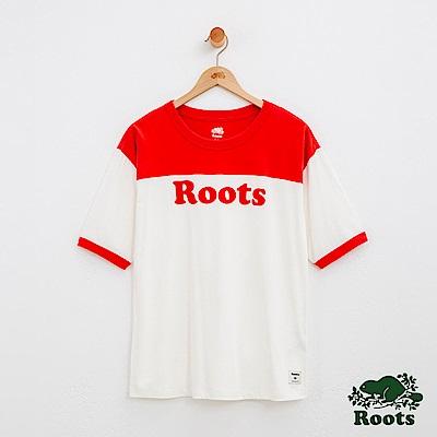 女裝Roots 撞色男友版短袖T恤.-紅